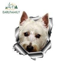 EARLFAMILY 13cm x 10,7 cm 3D Westie perro etiqueta engomada del vinilo de Metal roto etiqueta adhesivos par coche Animal ventana parachoques decoración de portátil estilo de coche
