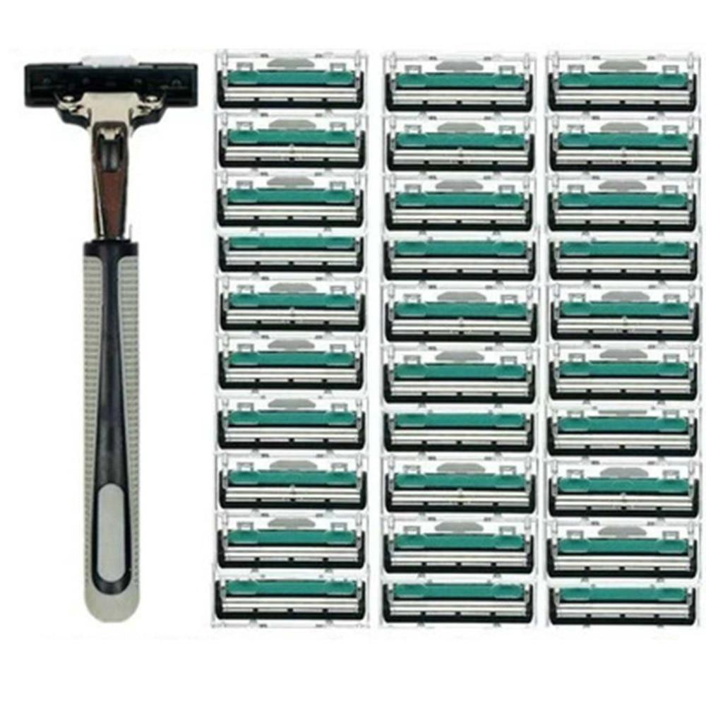 Мужские двухслойные бритвенные лезвия, 1 ручка, 30 шт., ручные лезвия для бритья лица, Стандартные лезвия для бритвы для бороды