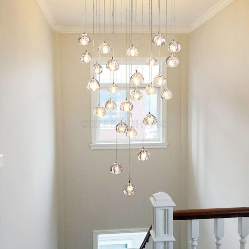 Lámpara de techo moderna para sala de estar, comedor, dormitorio, iluminación Led para el hogar, lámpara de techo de cristal, lámpara de caída, accesorio de iluminación