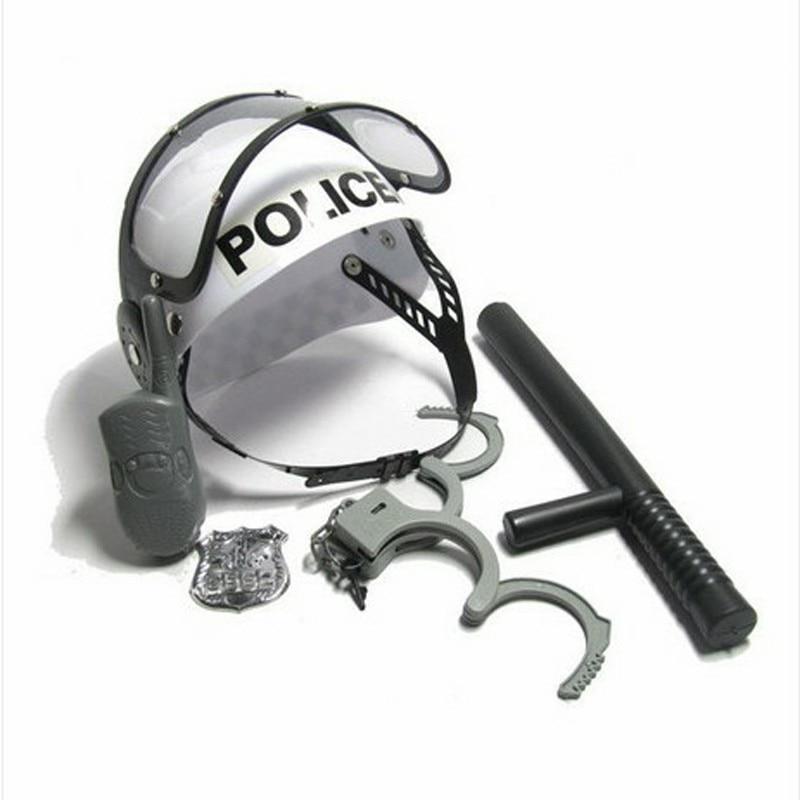Policeman Role Pretend Play Boys Toy Camouflage Hat Walkie Talkie Police Baton Emblem Handcuffs Set for Children Kids