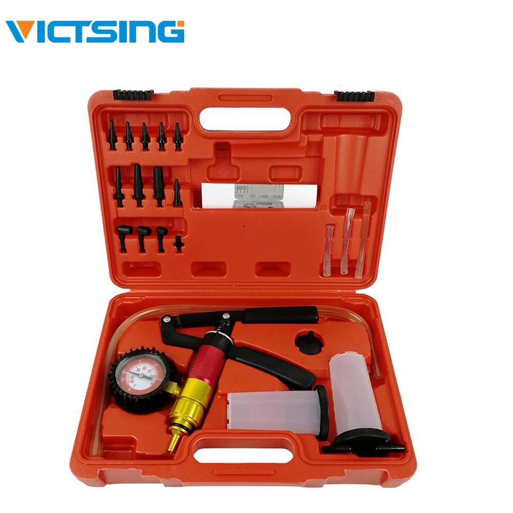 VicTsing 21pcs Handheld Vacuum Pump Set Tester for Automotive with Adapters Brake Bleeder Test Kit 0-60psi