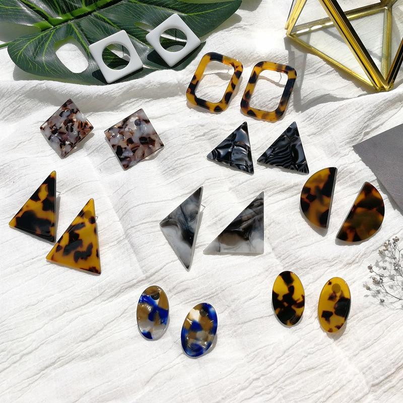 Acetato de resina triângulo leopardo preto branco brincos tortoiseshell brincos geométricos brincos de parafuso prisioneiro multicolorido brinco