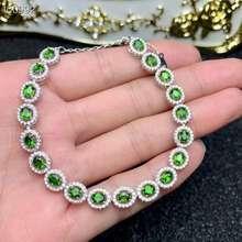 Pulsera de Gema verde Natural diopside, pulsera de piedra Natural 925, pulsera de plata clásica redonda para mujer, regalo de fiesta, joyería fina