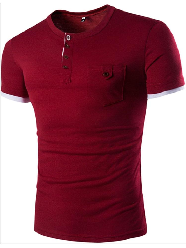 2017 rajadas de comércio exterior dos homens curto-de mangas compridas T-camisa único bolso costura projeto de acesso dos homens do projeto T-camisa