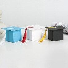 Divertidas Cajas de Regalo con borla para graduaciones de papel con forma de gorra de Doctoral con borlas para recuerdos de fiesta de graduación