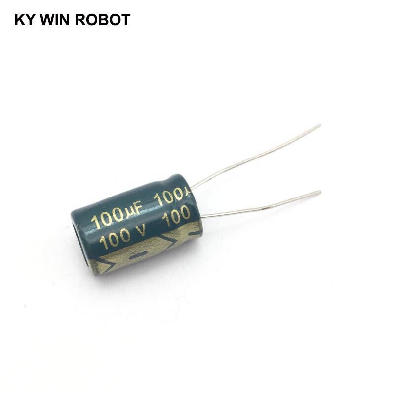 10 pcs Aluminum electrolytic capacitor 100 uF 100 V 10 * 17 mm frekuensi tinggi Radial Electrolytic kapasitor конденсатор duelund vsf 100 v 4 7 uf aluminium