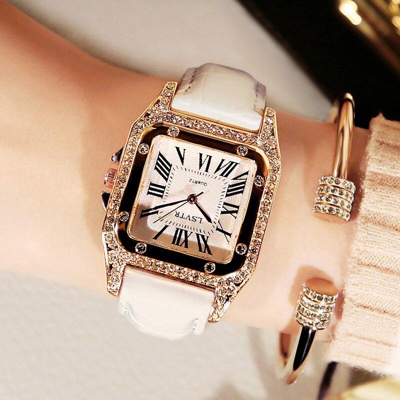 Mulheres de Diamantes de luxo Relógio Quadrado Branco Cristal de Quartzo Das Senhoras Vestido Relógios pulseira de Couro Pulseira Relógios bayan kol saati montre