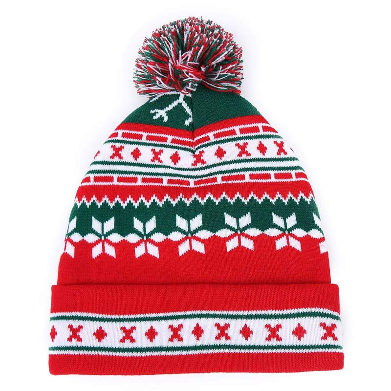 Gorro de punto rojo y verde de Navidad, Gorro con pompón de copo de nieve para mujer y hombre