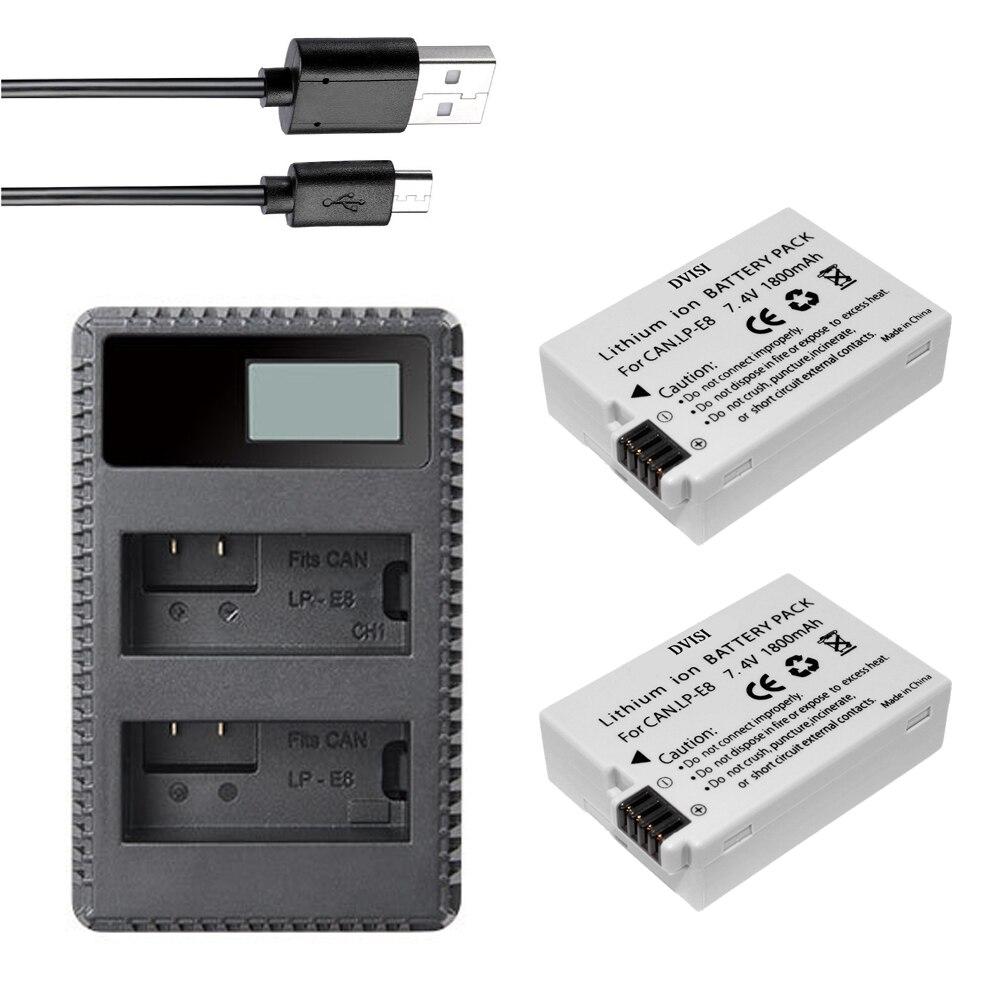 Batería LP-E8 LPE8 para cámara Canon, Cargador USB DUAL LCD, LP E8,...