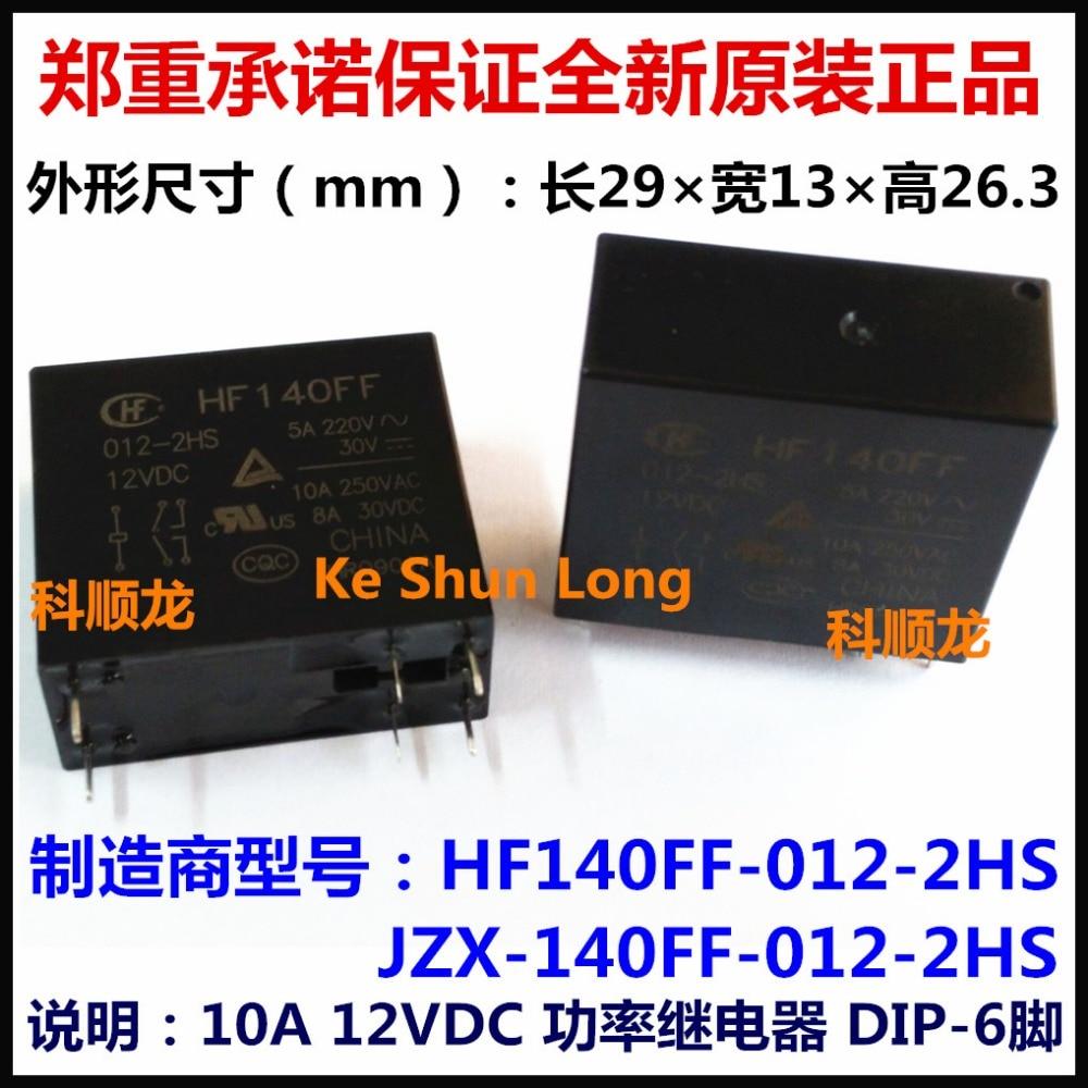 100% Original nuevo HF HF140FF-012-2HS JZX-140FF-012-2HS HF140FF-024-2HS JZX-140FF-024-2HS 6 pines 10A 12VDC 24VDC relé de potencia