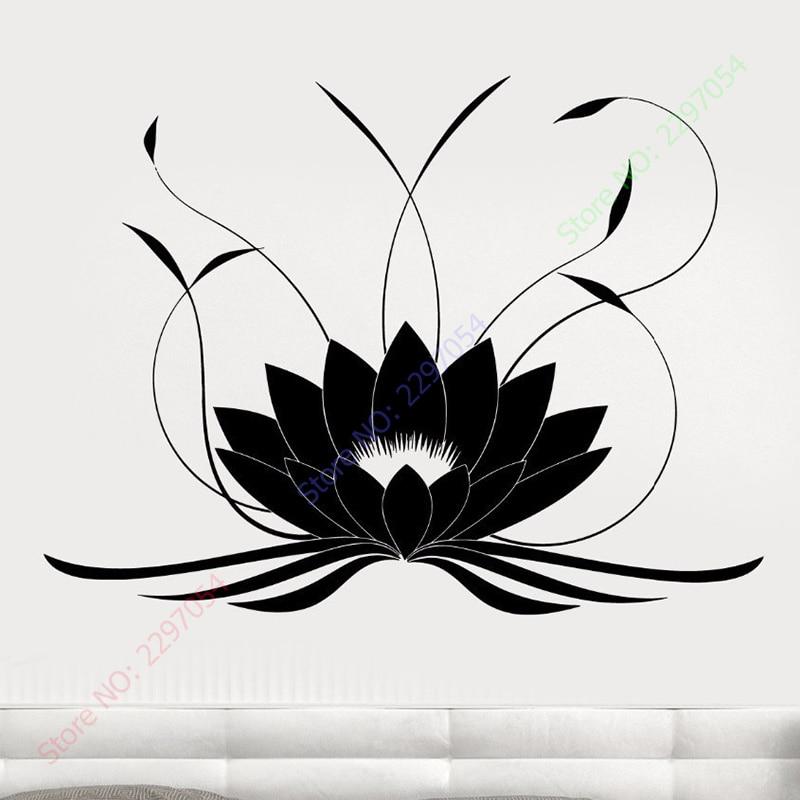 New Lotus Flower Buddha Yoga Studio Meditate Decor Wall Sticker Vinyl Decal Home Decoration size 56x90cm