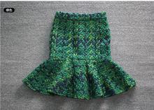 Jupe en Tweed pour femmes, jupe en tricot, taille haute, épaisse, Slim, jupe trompette, ourlet, style trompette, 2019 q07q05, printemps 2019