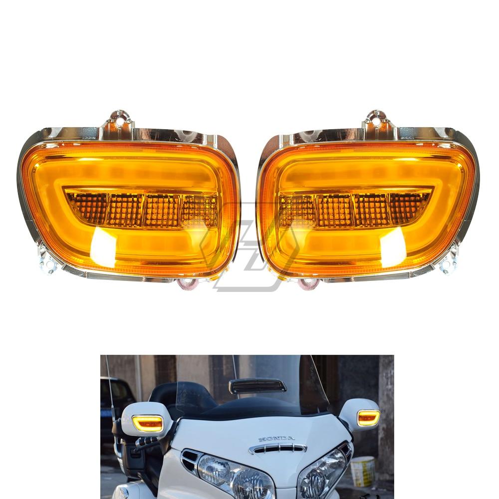 Motocicleta led frente side turn signal blinker caso para honda goldwing gl1800 gl 1800 2001-2017 f6b 2013-2018