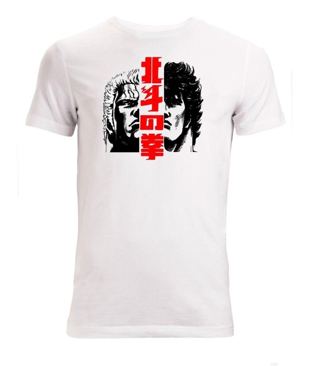2019 nova marca de moda roupas punho da estrela do norte anime artwork camiseta branca masculina tamanhos S-XXL camiseta