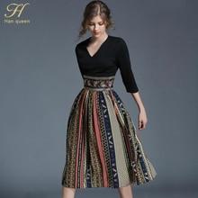 H Han Queen Autumn New Printing Casual Women Dresses Retro Big Swing Sexy V-neck Slim Office Party Chiffon Long Dress Vestidos