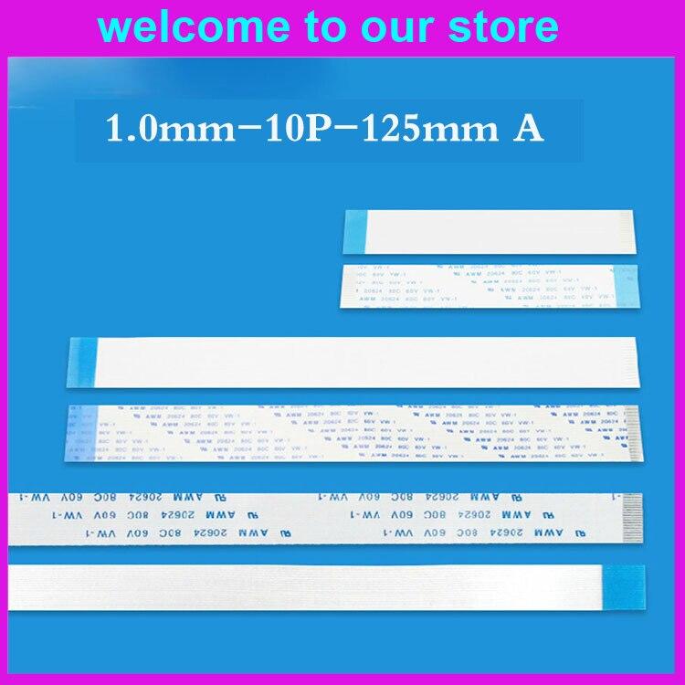 100 pçs/lote FFC FPC Cabo Liso Flexível 1.0 milímetros arremesso 10pin 125 milímetros Isotropia Tipo A cabo, 20624. bem-vindo feitos sob Encomenda