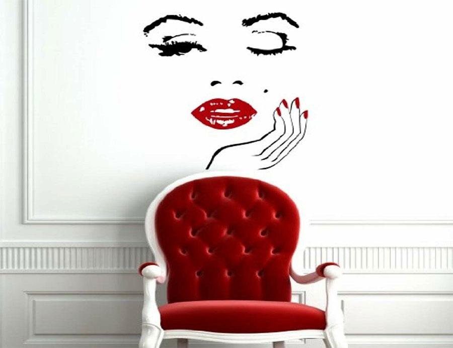 Calcomanía de pared del salón de belleza, pegatina de vinilo para maquillaje de chica a la moda, diseño Interior, arte, decoración del hogar, pestañas, papel tapiz MLY13