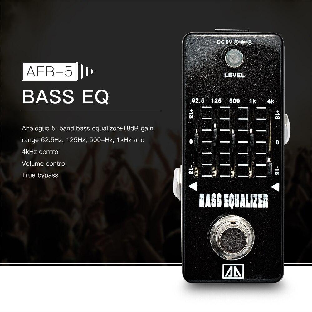 AROMA AEB-5 analógico 5 bandas bajo guitarra ecualizador EQ efecto Pedal aleación de aluminio cuerpo verdadero Bypass