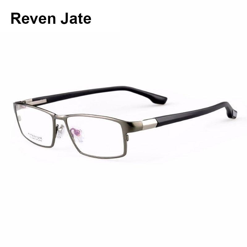 Reven Jate بارد الرجال الأزياء الأعمال التيتانيوم حافة ومرنة TR-90 الساقين معبد النظارات البصرية إطار لنجاح رجل