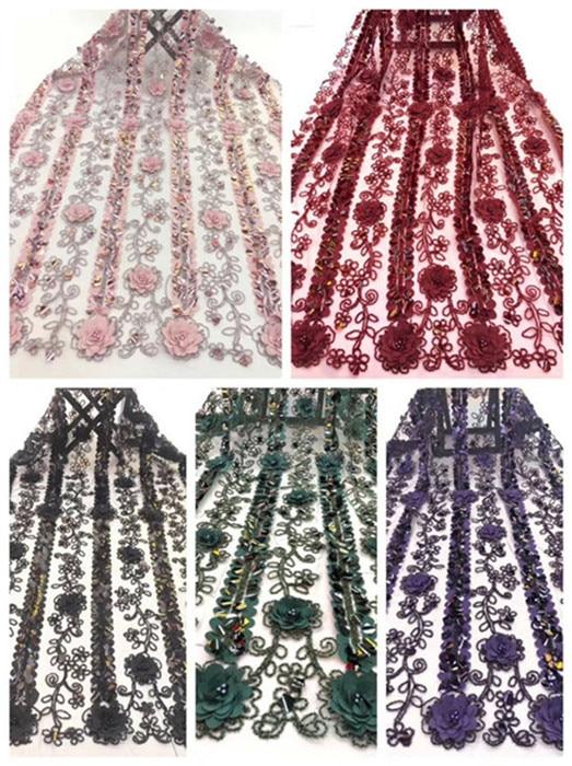 Rosa francés tela de encaje guipur Africana lentejuelas cordón de algodón de Nigeria Tissu de la India de encaje de la boda Vestido de JJ-4