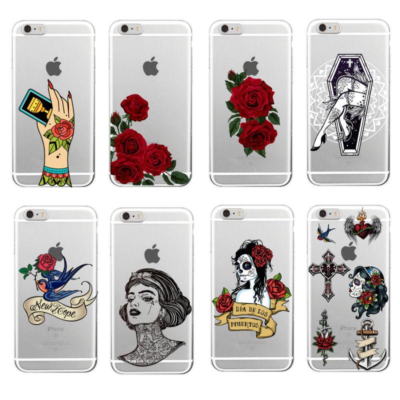 Tattoo Punk Rose México Crânio Meninas Gang Macio TPU Caso de Telefone Coque Funda Para iPhone 11 Pro 7 7Plus 5 5S 8 8PLUS X XS 6 6S Max