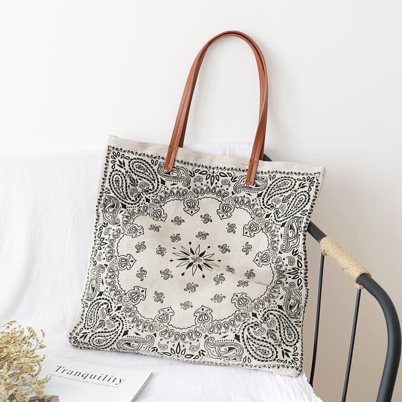 Big Size Paisley Printing Top-handle Bag Women Canvas Boho Gypsy Tribal Oversize Tote Bag Female Casual Shopper Shopping Bag