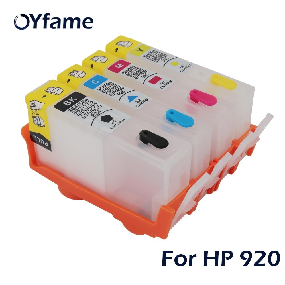 OYfame 4 шт многоразовый чернильный картридж для HP 920 для HP 920 XL струйный Officejet 6000 6500 6500A 7000 7500 принтер с чипом сброса