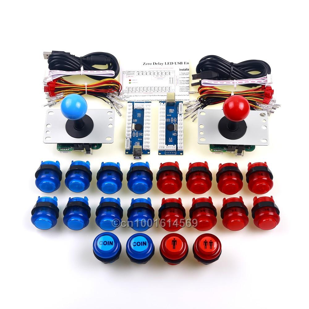 2 jogador novo arcade raspberry pi 3 retropie projeto diy 2 x varas de arcada + conector usb start led botão moeda botão