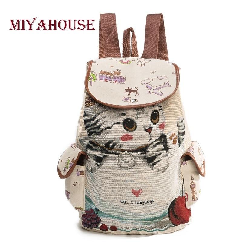 Miyahouse Повседневный парусиновый школьный рюкзак для женщин с милым принтом кота, рюкзак на шнурке для подростков, Большая вместительная Дамс...