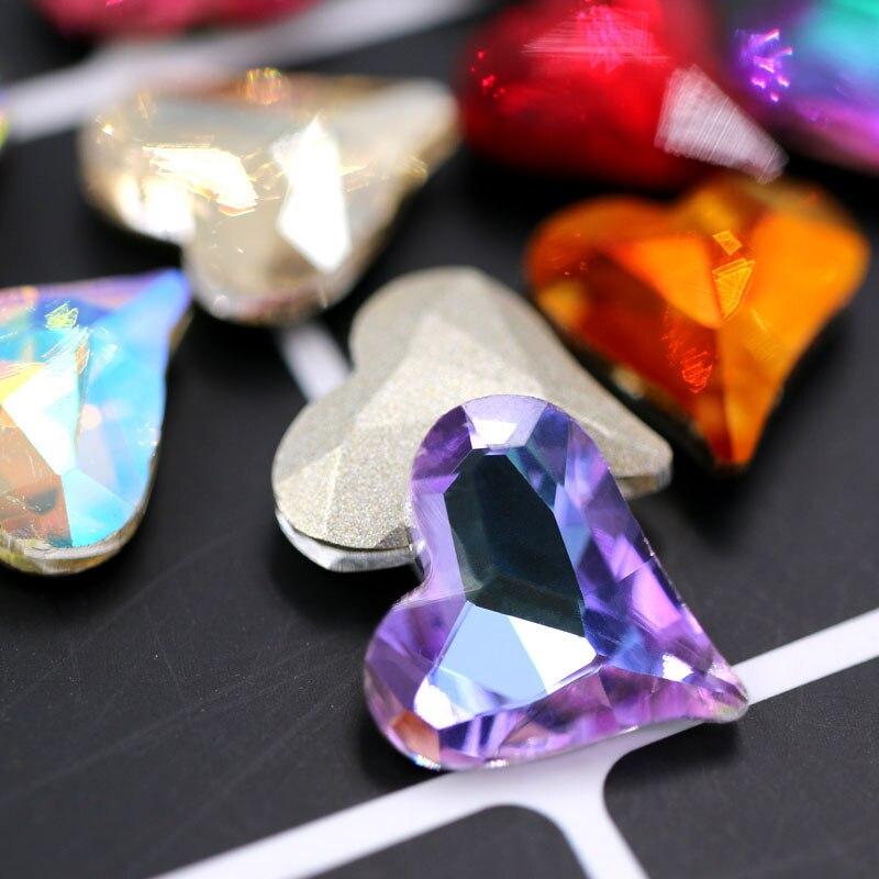 New arrival Nail Art pointback rhinestones 20pcs K9 glass crysyal Heart shape Purple Light rhinestones diy clothing Accessories