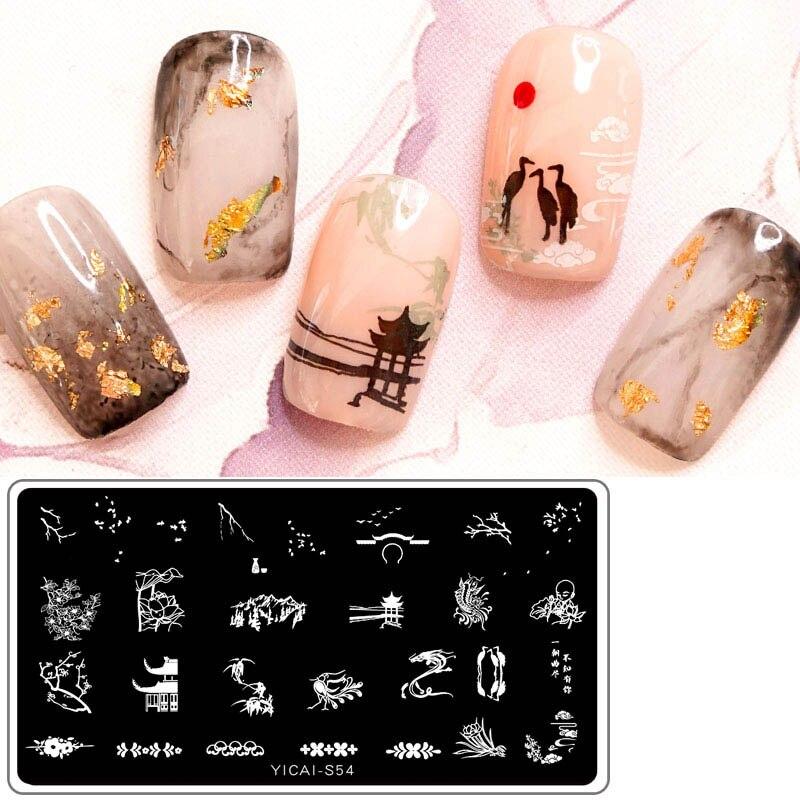 Placa de estampación para uñas diseño de estilo chino dibujo plantilla rectangular sello de imágenes para manicura plantilla herramientas de impresión