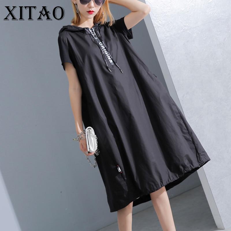 XITAO Hoodie Black Midi Dress 2019 Women Short Sleeve Plus Size Elegant Womens Clothing Pullover A Line Party Dress New KY428