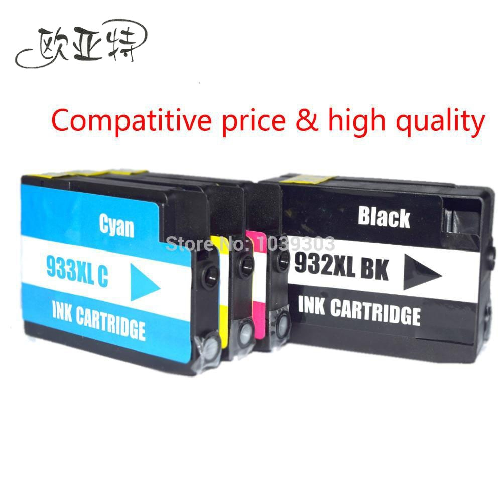 4 Color cartucho de tinta Compatible para HP932 HP 932 XL 933 XL para impresora HP Officejet Pro 6100, 6600, 6700, 7110, 7610, 7612, tinta de impresora