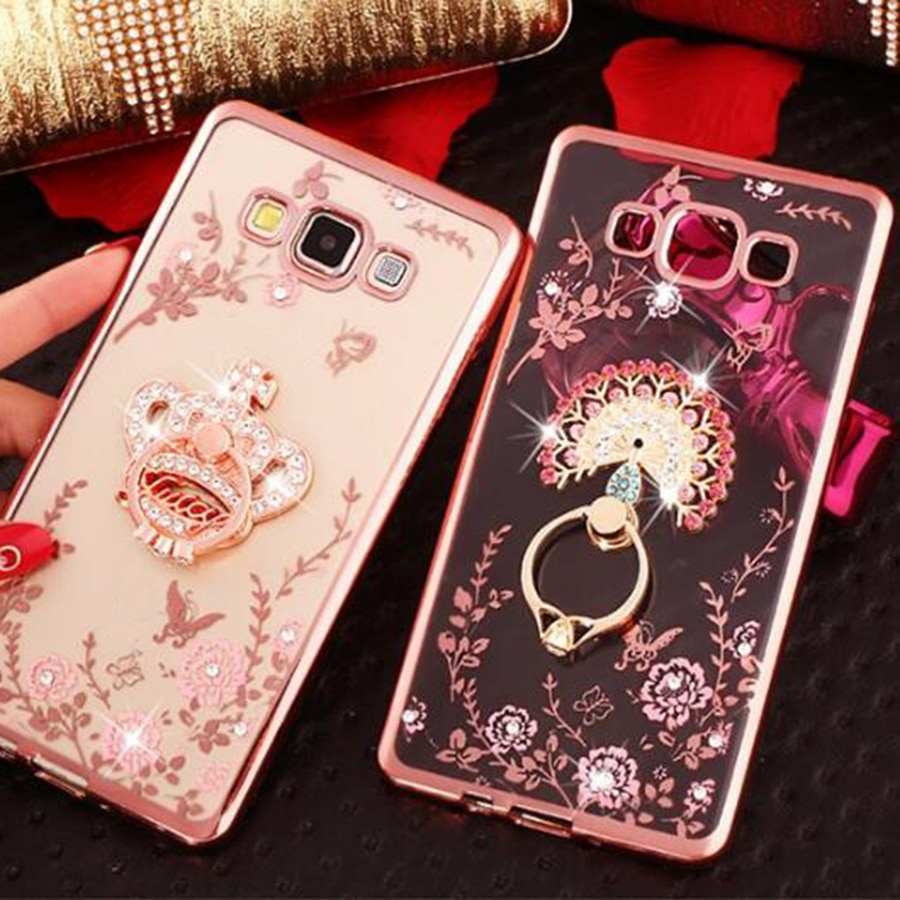 Funda de teléfono con soporte de anillo de silicona TPU suave con flores de lujo para Samsung Galaxy J4 J6 Plus J1 2016 J3 J5 J7 J2 Prime Pro Grand Cover