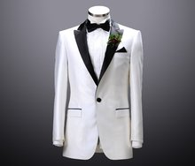Custom Made Mens Suits Groomsmen Peak Lapel Groom Tuxedos One Button Wedding Best Man Suit  (Jacket+Pants+Tie+Hankerchief) A4