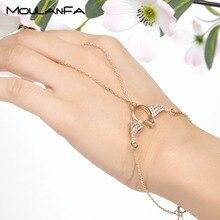 MOULANFA nouveau bracelet à doigts ailes dange couleur rose or et or pour femmes bijoux cadeau cristal charme bracelet chaîne à main