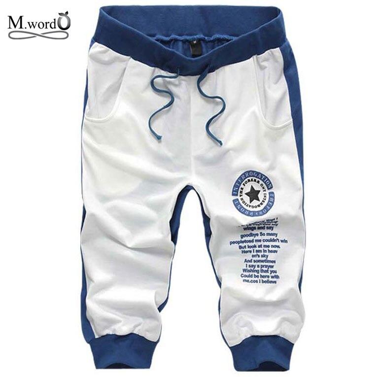 NOVEDAD DE VERANO 2019, pantalones cortos de algodón a la moda para hombre, pantalones cortos informales con letras para hombre, 7 colores