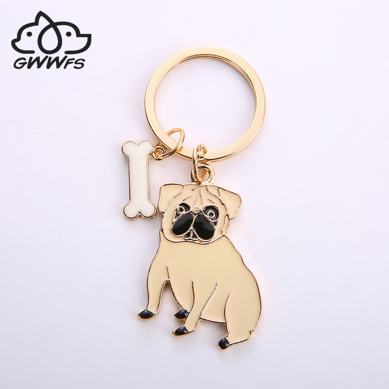 Alliage carlin chien porte-clés porte-clés sac sac à main accessoires de porte-clés à breloques nouveaux bijoux de mode pour les femmes chien amoureux cadeaux