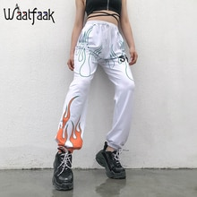 Waatfaak Printed White Women Casual Harem Pants Cotton High Waist Sweat Pants Harajuku Full Length Fashion Trousers Summer 2019