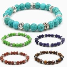 Nieuwe Hoge Kwaliteit Blauw Wit Groen Rood Natuurlijke Turkoois Steen Armband Homme Femme Charmes Mannen Strand Kralen Yoga Armbanden Vrouwen