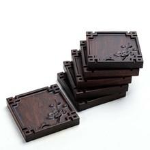 Retro Platz Bambus Coaster Holz Tee Tasse Tablett Wärmedämmung Mat Decor Gongfu Tee Tisch Teller Tee werkzeuge Teegeschirr 1 PC