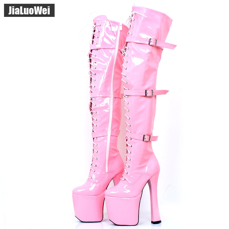 """Jialuowei 7 1/2 """"botas de plataforma de encaje de XTC-3028 de tacón grueso para mujer 20cm zapatos de baile de barra sobre la rodilla muslo botas de pierna alta"""