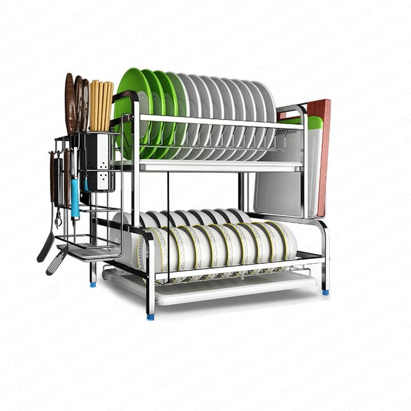 Estante de drenaje de platos de cocina de acero inoxidable 304 para secar platos, cuencos, escurrir la vajilla, armario, estante de caja de almacenamiento de doble capa
