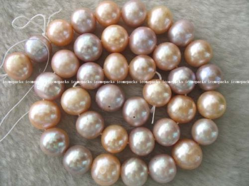 Perla de agua fresca natural al por mayor 11-12mm cuentas redondas multicolor 15