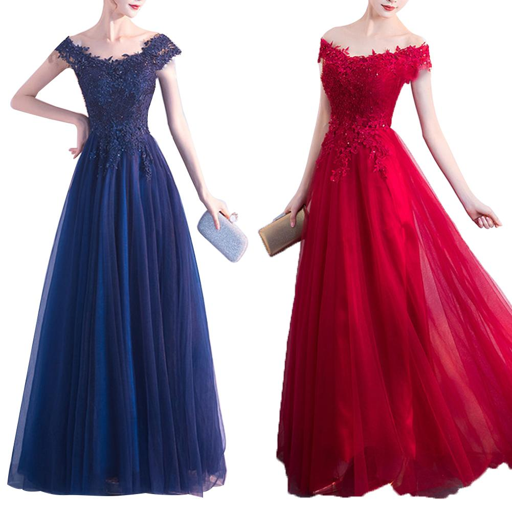 2019  Women Maxi Dress  Mesh Transparent Patchwork Dress Formal Wedding Bridesmaid Long Party Long Solid Color Off Shoulder Lace