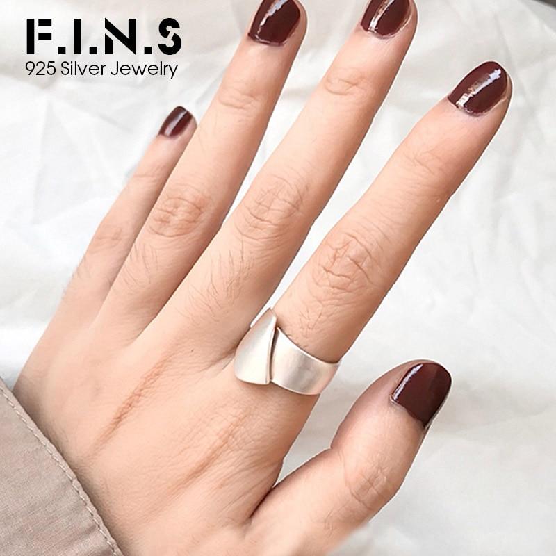 F.I.N.S diseño minimalista mate cepillado anillos abiertos Plata de Ley 925 moda para mujeres 2019 anillo de dedo plata 925 joyería