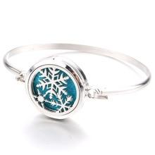 Beautiful Snowflake Aromatherapy Bracelet Aroma Essential Oil Diffuser Locket Stainless Steel Bracel