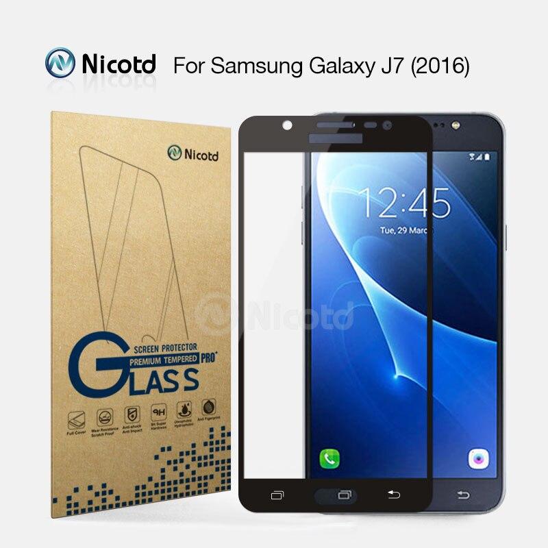 Закаленное стекло Nicotd с полным покрытием для Samsung Galaxy J7 2016, J710F, J710FN, J710M, J710MN, J7108, 5,5 дюйма, Противоударная Защитная пленка для экрана