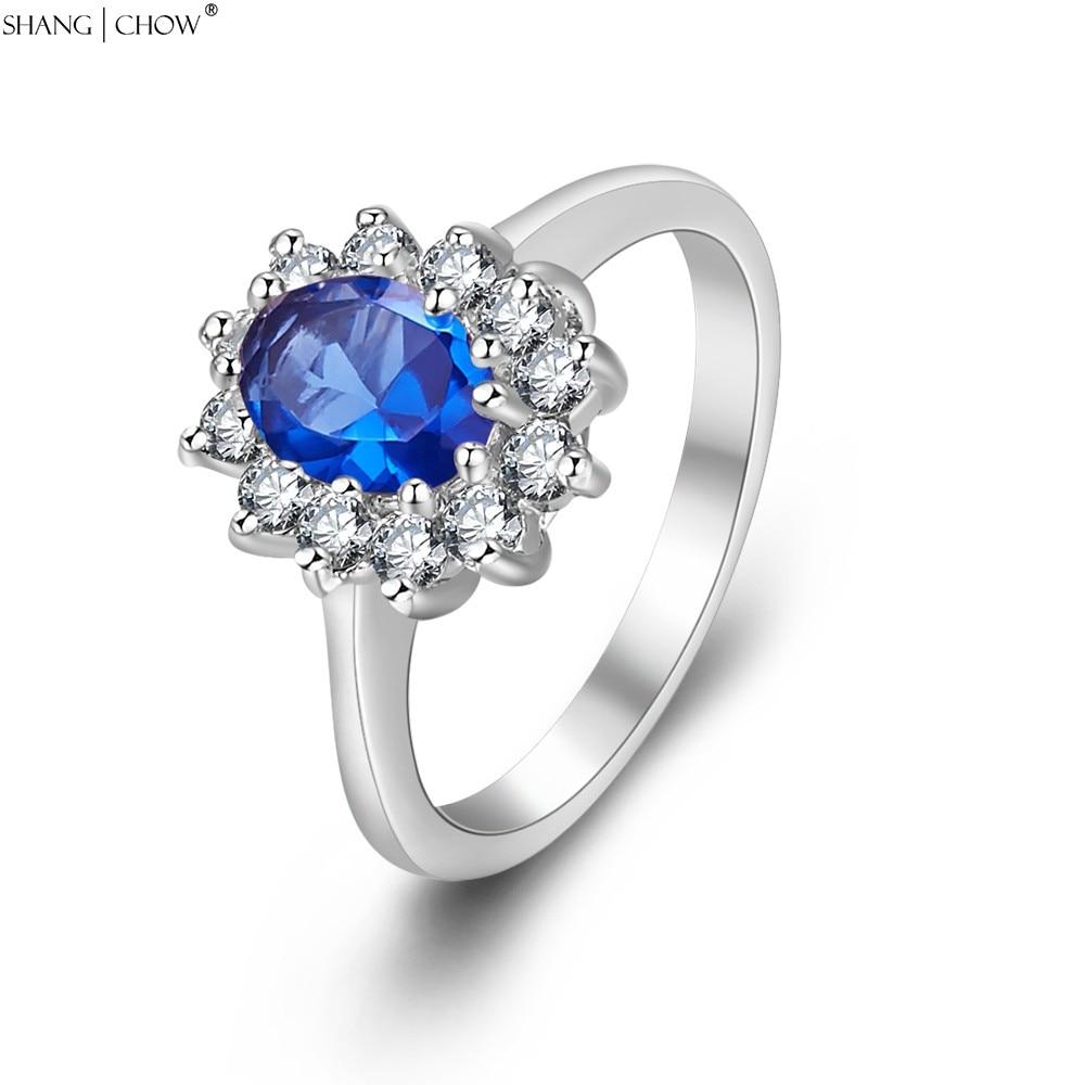 Joyería romántica piedra azul 925 anillo de plata de ley para mujeres Bola de carrera accesorios estrella brillante