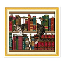 Broderie de chaton, livres, kit de points de croix peints à la main, sur les étagères, meubles de chat, tissu en coton brodé